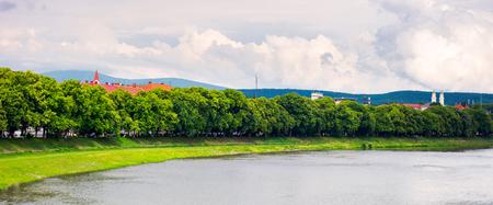 panorama of longest linden alley in europe. Summer landscape on the river embankment in Uzhgorod, Ukraine. Stok Fotoğraf - 101214923