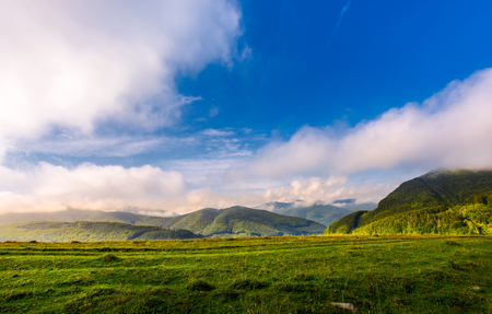beautiful sunrise in mountains. gorgeous cloudscape above the ridge in the distance. clear grassy meadow on foreground Stock Photo