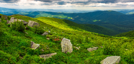 panorama of Runa mountain with boulders on hills. gorgeous landscape of amazing Carpathian mountains on a summer day with overcast sky Stock Photo