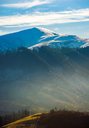 snowy top of Velykyi Verkh. beautiful morning scenery of late autumn in Carpathian mountains, Ukraine Stock Photo