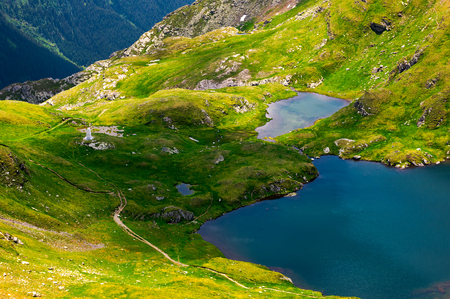 glacier lake Capra view from above. lovely scenery of Fagaras mountains in summer 스톡 콘텐츠