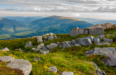 row of boulders on the hillside. lovely view from Runa mountain, Ukraine. cloudy morning Reklamní fotografie