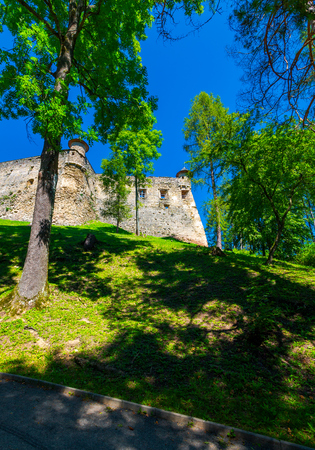 Stara Lubovna Castle of Slovakia on the hillside. beautiful medieval architecture. popular tourist attraction. lovely summer scenery 新聞圖片