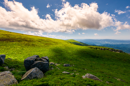 beautiful cloudy formations above the mountain top. lovely summer landscape. bright and fresh day, good mood. wonderful place for hiking and camping Stock Photo