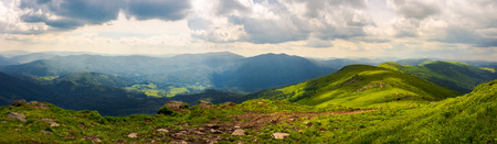 panorama of great Carpathian water dividing ridge. beautiful summer landscape Runa and Gostra mountains in the distance