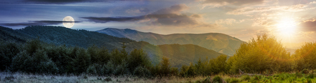 time change concept over the Carpathian mountains. panorama with sun and moon in the sky. beautiful landscape with forested hills and Apetska mountain in the distance.