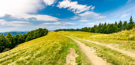 road through forested mountain ridge.  beautiful landscape of Svydovets ridge under the gorgeous cloudscape. lovely panorama of summer scenery Stock Photo