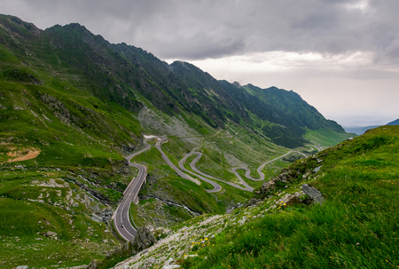 winding serpentine of the TransFagarasan road. beautiful transportation background. popular tourist destination in Romania Stock Photo