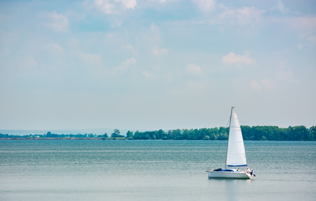 white Yacht on Zemplinska Sirava, Slovakia. beautiful vacation in summer Stock Photo