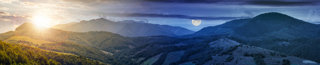 time change concept over the mountainous panorama with sun and moon. perfect countryside landscape. rural field on the nearest forested hills. Mighty Borzhava ridge in the distance