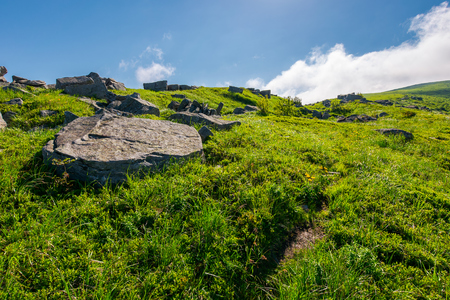 cloud over the grassy hillside with rocks. path uphill in to the sky. lovely summer scenery. tacking and hiking activity background