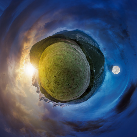 little mountain planet spherical panorama time change. lovely countryside concept with 360 degree view. agricultural field on hillside and village in the valley. beautiful sky with fluffy clouds