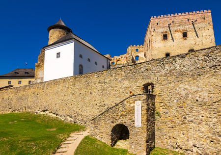 Stara Lubovna, Slovakia - AUG 28, 2016: stone walls of Stara Lubovna castle. popular tourist destination. Bright sunny day with deep blue sky Stock Photo