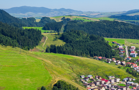 outskirts of old town Stara Lubovna. Bright sunny day with mountains in the distance. view from the top. lovely travel destination of Slovakia Stock Photo