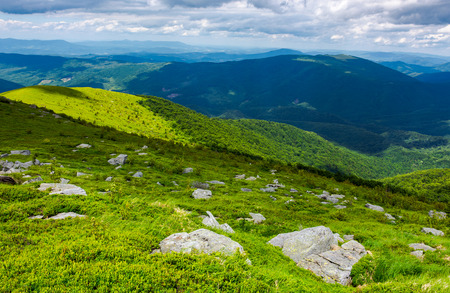 grassy slope with rocks on high altitude in mountains. beautiful summer landscape of Carpathians Stock Photo
