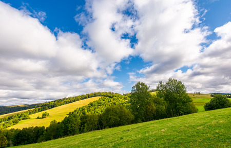 peaceful nature scenery in early autumn. beautiful weather. gorgeous cloud formation over the forested hills
