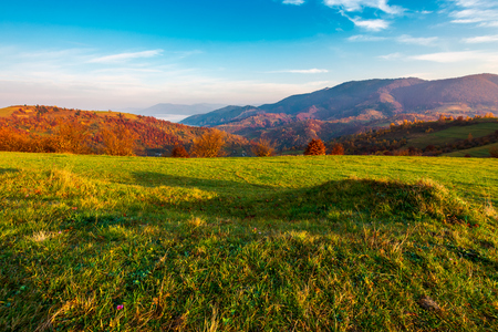 grassy meadow on hill side at sunrise in autumn. beautiful mountainous landscape with distant valley in fog Stock Photo