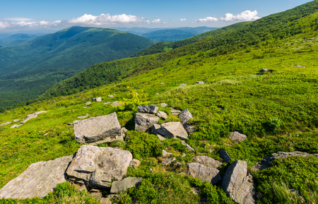 fresh summer landscape in mountains. rocks on the grassy slope. beautiful location of carpathian mountain. explore the world concept