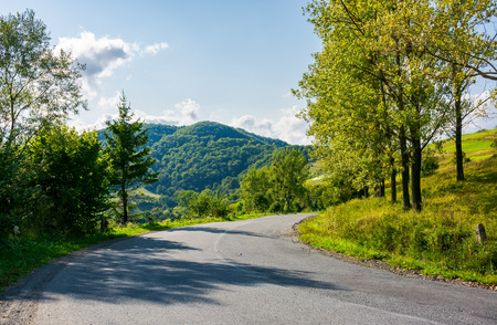 country road down the hill. forest along the way and mountain in the distance. wonderful sunny weather in early autumn Stock Photo - 106208529