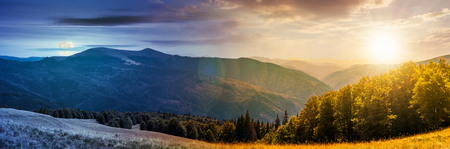 panorama of a day to night change concept in  mountainous landscape. lovely summer landscape