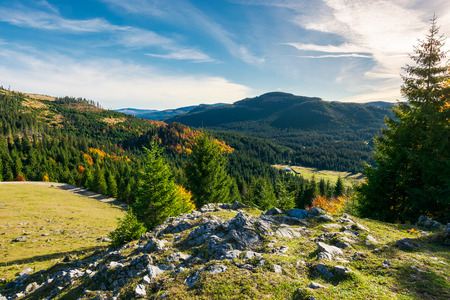 rocky cliff above the forested valley. beautiful autumn sunrise in mountainous landscape. Stock Photo
