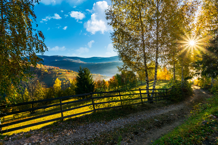 country road down the hill in to the sunrise. beautiful rural landscape in autumn. wooden fence along the road Stock Photo