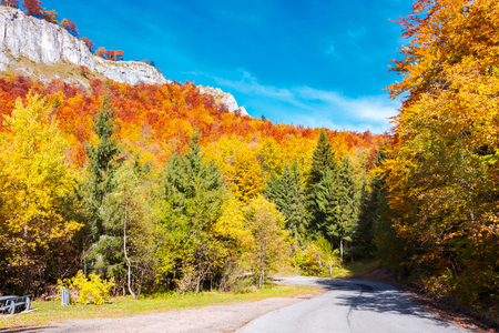 road through gorgeous serpentine in autumn forest. huge rocky formation on the hill above the path. beautiful nature and weather. colorful foliage Stock Photo