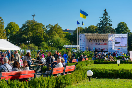 Uzhgorod, Ukraine - SEP 28, 2018: Czech days in TransCarpathia festival. 100 year celebration of Czechoslovakia declaration in 1918. location Narodna Square. people taste dishes, beer and listen to national music