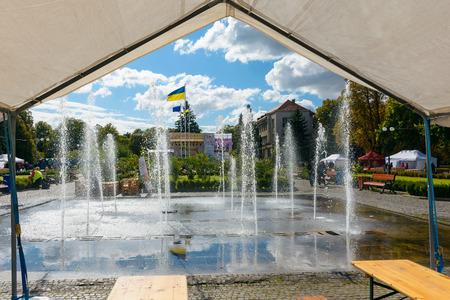 Uzhgorod, Ukraine - SEP 29, 2018: Czech days in TransCarpathia festival. people enjoy celebration of 100 year of Czechoslovakia declaration. location Narodna Square Standard-Bild - 113414609