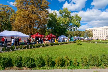 Uzhgorod, Ukraine - SEP 29, 2018: Czech days in TransCarpathia festival. people enjoy celebration of 100 year of Czechoslovakia declaration. location Narodna Square