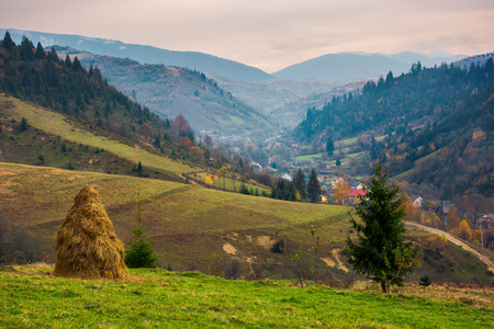 lovely countryside in mountains on a gloomy day. village down in the valley. huge ridge in the distance. Stock Photo - 109273705