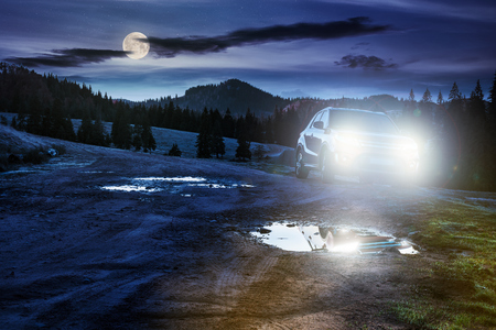 orange suv parked on the country road near forest in mountain at night in full moon light. beautiful autumn scenery. travel Europe by car concept Stock Photo - 109273710