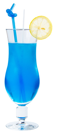 Blue alcohol cocktail with lemon and ice in a tall glass. side view isolated on a white background