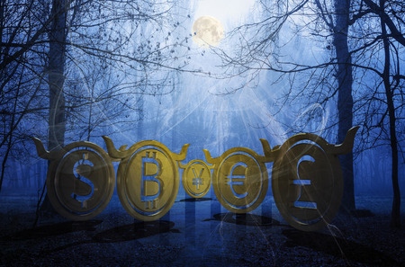 bullish coins hide in foggy forest. accumulating moon energy and waiting for the momentum to reveal their power on the market. spooky Halloween crypto night trading. 3d illustration Фото со стока - 110747649