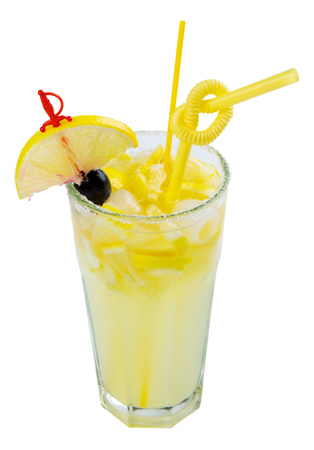 Rum Swizzle alcohol cocktail with lemon and sugar on the border of a tall glass. isolated on a white background