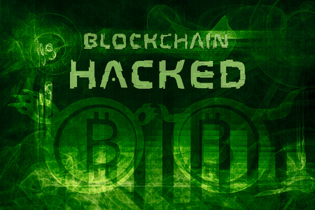 blockchain hacked abstract background. bitcoins stolen.