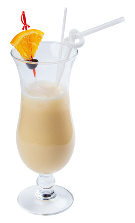 pina colada alcohol cocktail with orange and olive in a tall glass. isolated on a white background Stock Photo
