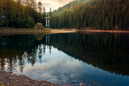 beautiful autumn scenery of a lake in Synevyr national park, Ukraine. wonderful calm evening