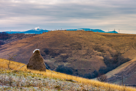 haystack on a step slope. mountain with snowy peak in the distance. gloomy late autumn in mountainous rural area