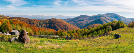 panorama of a beautiful rural countryside of Romania. lovely autumn landscape Editorial