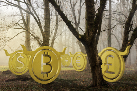 bullish currency hide in foggy forest at sunrise. waiting for the perfect momentum and accumulating energy. halloween trading concepr. 3d illustration