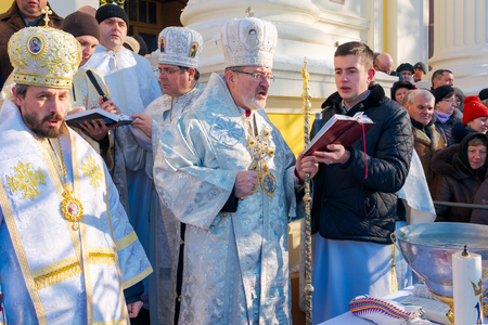 UZHGOROD, UKRAINE - January 19, 2017: Ceremony Greek-Catholic church during celebration of the Epiphany Day. Redactioneel