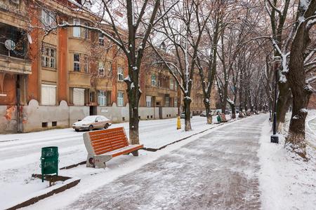 Uzhgorod, Ukraine - JAN 05, 2016: linden alley in winter. old czechlova architecture on the nezalezhnosti embankment