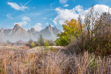 late autumn frosty day composite image. tall grass and trees in fall foliage. mountains with high peaks in the distance under the bright blue sky with fluffy clouds Stock Photo