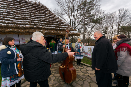 Uzhgorod, Ukraine - Jan 13, 2018: Vasylya festival celebrating in Museum of Folk Architecture and Life. representatives from Mizhhirya region show their cultural features Editorial