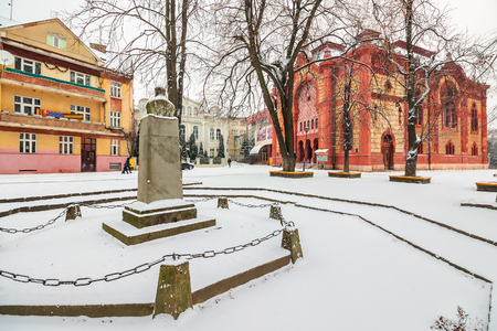Uzhgorod, Ukraine - JAN 05, 2016: Feczik Park in winter. former building of synagogue is a popular tourist attraction Editorial