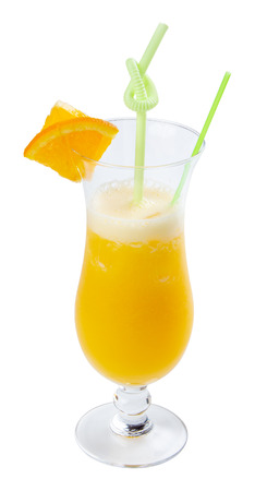 orange juice in tall glass. fresh drink with ice decorated with fruit slice and straw Stock Photo