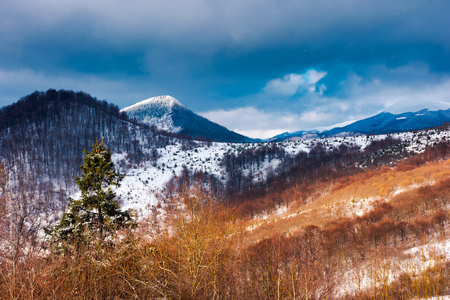 winter in Uzhanian National Nature Park. beautiful nature scenery with snowy peaks Stock Photo