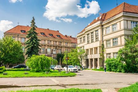 Uzhgorod, Ukraine - MAY 06, 2017: ancient Czech architecture on a Pushkin square. lovely cytyscape on a sunny day. popular tourist destination