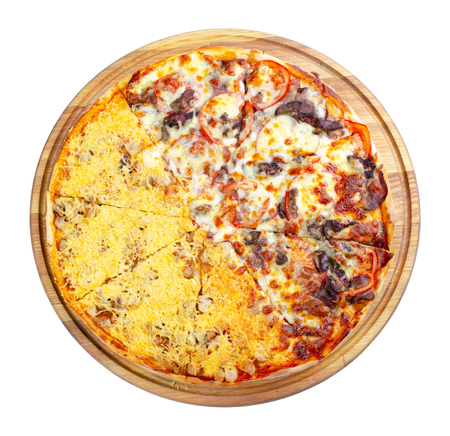 double topping pizza for couples on the wooden desk isolated. view from the top. cheese and chicken vs beef and tomato, find your favorite